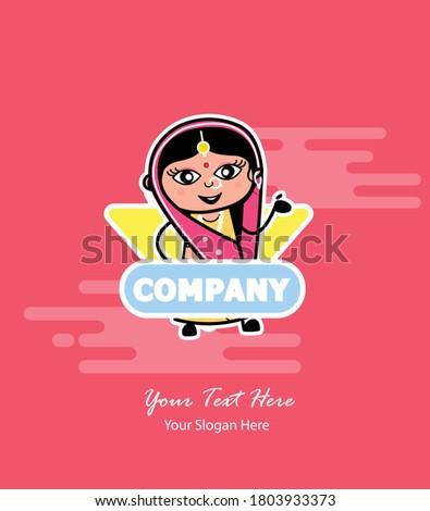 cartoon indian woman in company