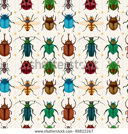 cartoon insect bug seamless pattern