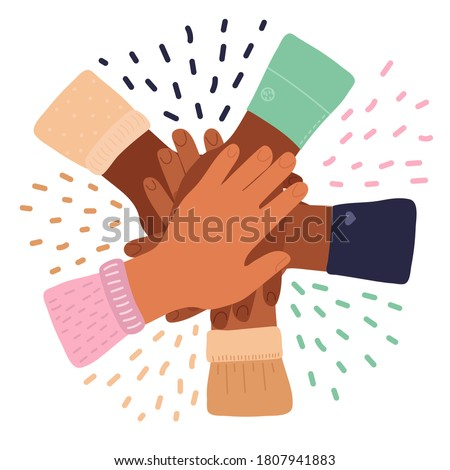 Cartoon inter-racial friendship, solidarity of peoples, Association of different people. stack of hands. Teamwork.concept of international friendship. Vector isolated on white