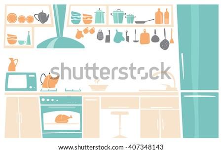 cartoon interior of kitchen