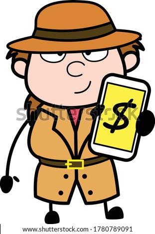 cartoon investigator showing