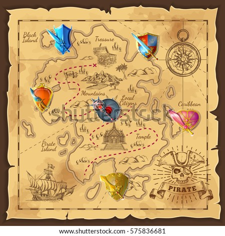 cartoon island map template