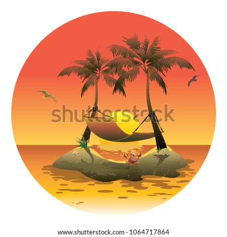 cartoon island with a hammock