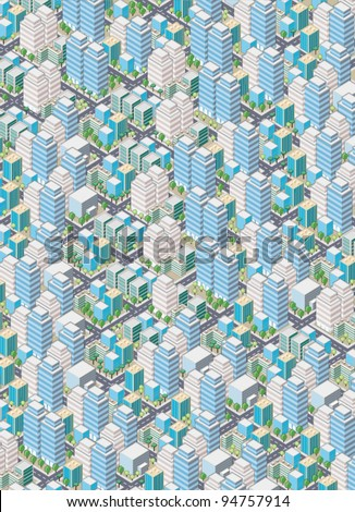 Cartoon isometric city with buildings