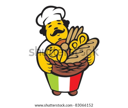 Cartoon italian baker takes basket with bread and buns