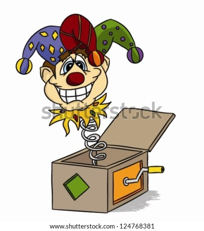 Cartoon Jack-in-the-box (vector) - funny jester