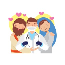 cartoon Jesus Christ and holy Mary hugging doctor. vector illustration