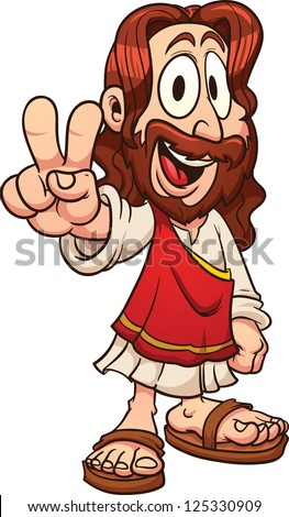 Cartoon Jesus Vector clip art illustration with simple gradients All in a single layer