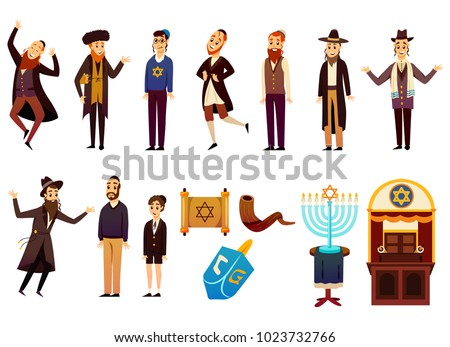 Cartoon jews characters icons collection with isolated images of young and adult israelite people with jewish symbols vector illustration  ストックフォト ©