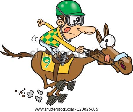 Cartoon Jockey Riding A Horse In Race