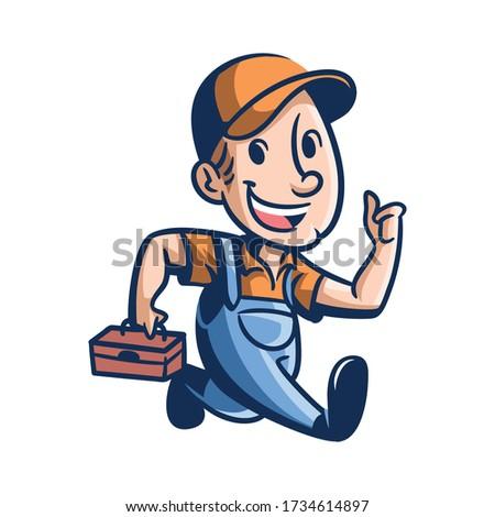 Cartoon Joe's Repair Mascot Logo Stock photo ©