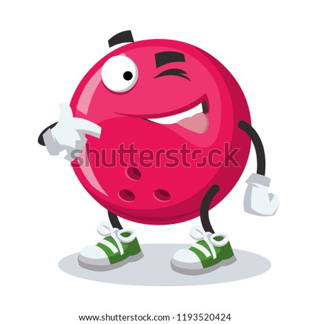 cartoon joyful bowling ball winks on a white background