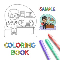 Cartoon judge with the law book in office near the table. Coloring book page with profession character.