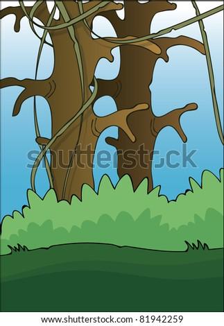 Cartoon Jungle Grass Cartoon jungle drawing vector