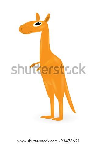 cartoon kangaroo. cute wallaby. australian zoo animal. - stock vector