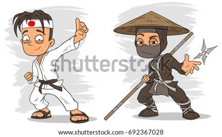 cartoon karate boy and masked