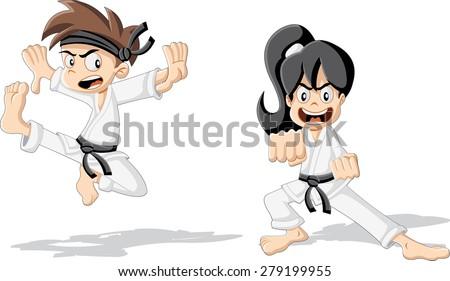 cartoon karate kids wearing