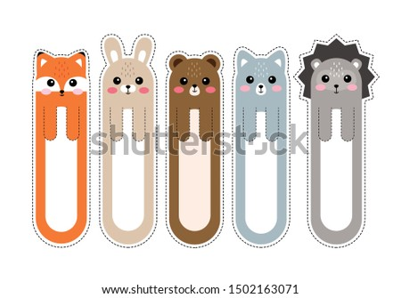 Cartoon kawaii bookmarks with animals. Bookmark paper sticker collection in flat design. Vector illustration