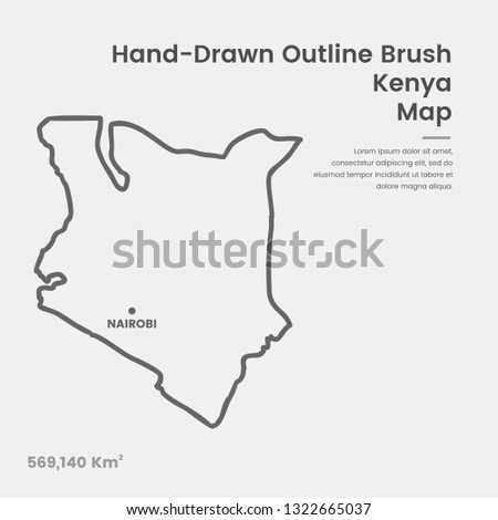 Cartoon Kenya Map, Hand Drawn Kenya Map, Doodle Kenya Map Vector Outline Style Map Information