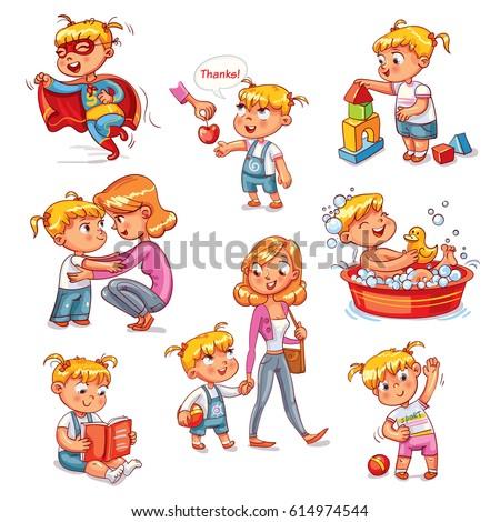 cartoon kid daily routine