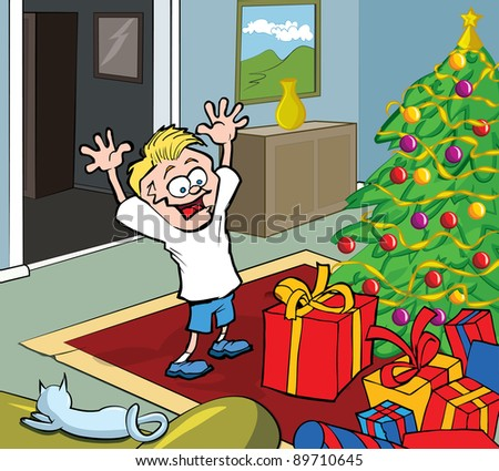 Cartoon kid on Christmas morning opening gifts by a Christmas tree - stock vector