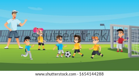 Cartoon Kid Play Football Game Vector Illustration. Mixed Team Boy Kick Girl Run. Man Referee Blowing Whistle. Soccer Match on Green Grass Field Stadium. Sport Training Children Competition