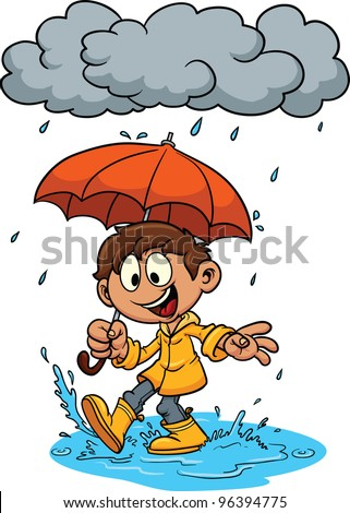cartoon kid playing in the rain