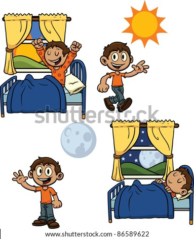 cartoon kid waking up and going