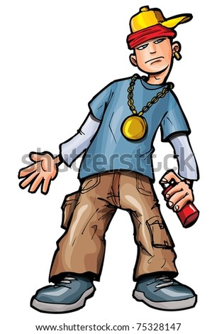 Cartoon kid with spraycan and a baseball cap. Isolated on white
