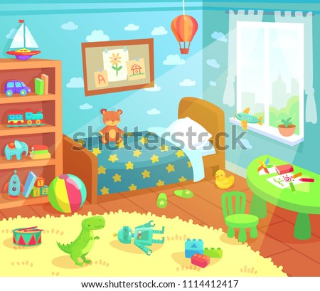 Cartoon kids bedroom interior. Home childrens room with kid bed, pencils drawings and child toys tirex robot designer duck bear in light from curtain window colorful apartment vector illustration