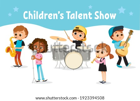 Cartoon kids, children, students playing music on musical instruments and singing. Musical activities for children. School music band, ensemble, musical group performing at school evening event party.