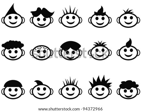 Free Vector Hair on Cartoon Kids Face With Hair Style Icons Stock Vector 94372966