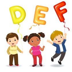 Cartoon kids holding letter DEF shaped balloons