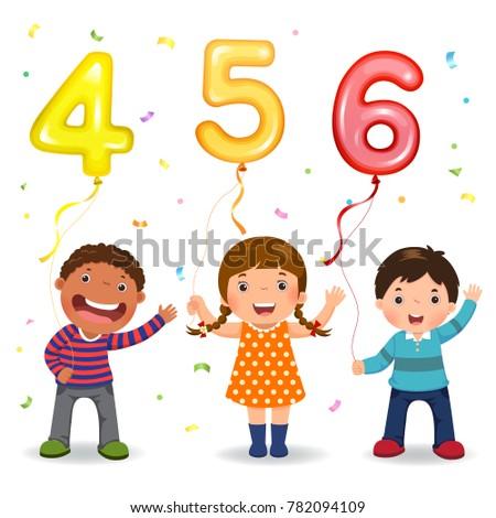 cartoon kids holding number 456