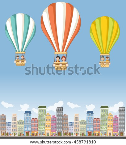 cartoon kids inside a hot air