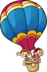 Cartoon kids riding a hot air balloon. Vector clip art illustration with simple gradients. All in a single layer.