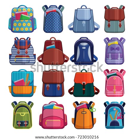 Cartoon kids school bags backpack Back to School rucksack vector set illustration isolated on white