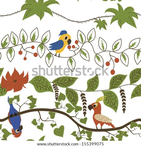 Cartoon kids seamless pattern with parrots