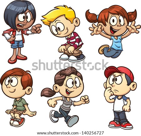 Cartoon kids Vector clip art illustration with simple gradients Each on a separate layer