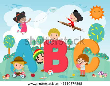 cartoon kids with ABC letters, School kids with ABC, children with ABC letters,Vector Illustration