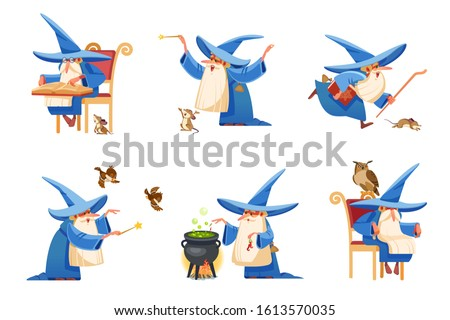 Cartoon kind wizard character. Old witch man in wizards robe, magician warlock and magic medieval sorcerer merlin, male witchcraft in hat and mantle. Cartoon style vector isolated illustration Сток-фото ©