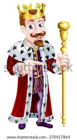 cartoon king holding a sceptre