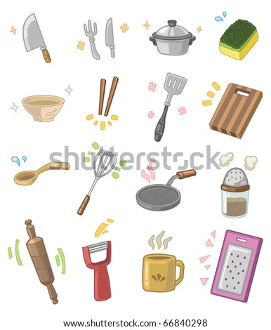 Cartoon Kitchen Utensils Stock Vector 66840298 : Shutterstock