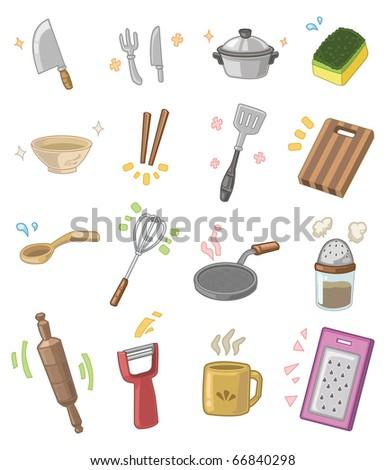 Cartoon Kitchen Utensils Stock Vector 66840298 : Shutterstock