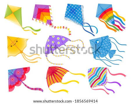 Cartoon kites. Wind flying toy with ribbon and tail for kids. Makar Sankranti. Butterfly, fish and rainbow kite shape and design, vector set. Illustration wind kite game, summer flying toy ストックフォト ©