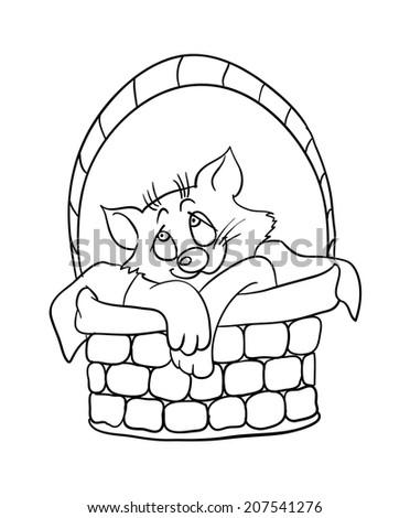 cartoon kitten in a basket