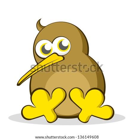 Kiwi Cartoon Drawing Cartoon Kiwi Bird Sitting