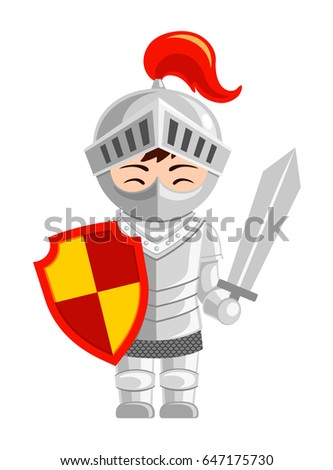 cartoon knight cute little kid