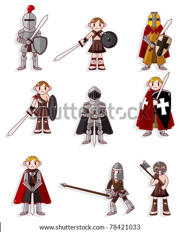 cartoon knight icon - stock vector