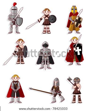 cartoon knight icon - stock vector